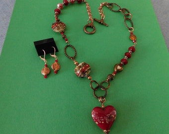 Heart Lampwork Beaded Necklace and Earrings