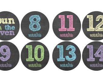 Pastel Chalkboard Weekly Pregnancy Stickers - Baby Shower Gift - Weekly Baby Bump Pregnancy Stickers weeks 8-42 (set of 36 stickers)
