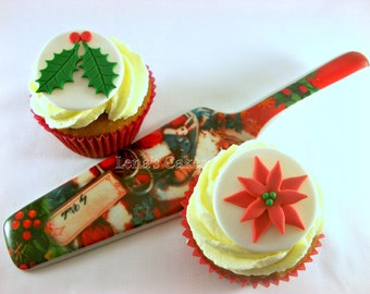 Christmas Cupcake Fondant Edible Toppers, Xmas Party Decor, Poinsettia Holly Leave Edible Toppers, Holiday Edible Decorations - set 12