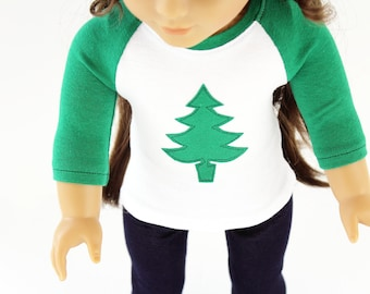 Fits like American Girl Doll Clothes - Christmas Tree Raglan Tee in Kelly Green or Red | 18 Inch Doll Clothes