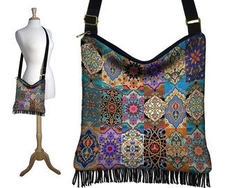 Persian Patchwork, Hippie Bag, Hobo Purse, Crossbody Slouch Bag, Gypsy Boho Fringe Bag, zipper, pockets, jewel colors, long strap  MTO
