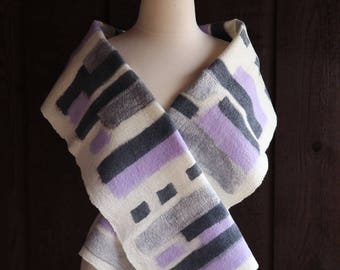 Felted scarf, merino wool scarf, abstract scarf, lilac, white, gray, multicolor, art scarf, nuno felt, abstract design, wearable fiber art