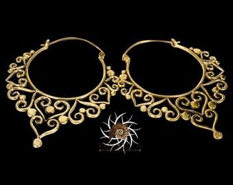 Brass Earrings - Brass Hoops - Gypsy Earrings - Tribal Earrings - Ethnic Earrings - Indian Earrings - Tribal Hoops - Indian Hoops (EB53)