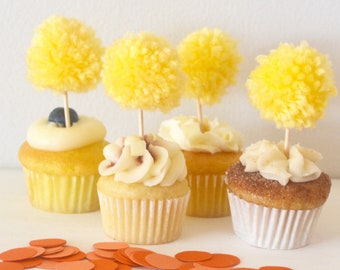 12 (1 Dozen) Sunshine Yellow Pom Pom Cupcake Topper Party Decorations for Spring and Summer