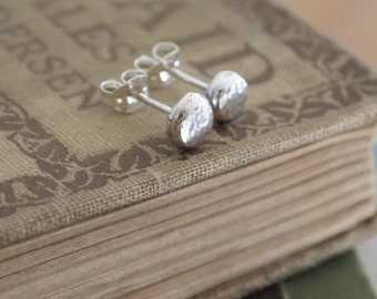 Small Round Silver Studs, Argentium silver hammered stud earrings available in 3 sizes, single stud or pair, handmade by arc jewellery UK
