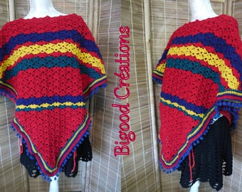 Red adult poncho crochet