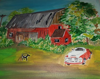 Red Barn W/ Dog Painting