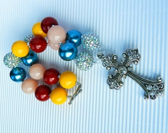 Country Girl Cross Chunky Bead Rhinestone Cross Necklace Multi Colors Girls Chunky Necklace Bubblegum Beads Religious Jewelry Cowgirl