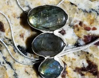 "Fine Silver Bezel Set Labradorite Stacked Pendant Sterling Silver 20"" Necklace"