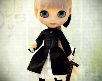 Gothic lolita dress FATE Dark Saber Alter Hollow Ataraxia Black Outfit for Blythe cosplay