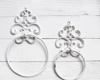 Shabby Chic Towel Ring, In Shabby White, Towel Hanger,Heavy Cast Iron Towel Hook,Shabby Chic Bathroom Accessory,Fleur De Lis Design