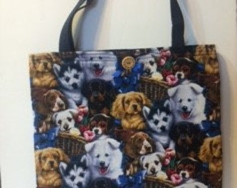 Quilted Dog Print Tote