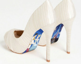 Custom hand painted Cinderella's Castle heels