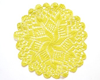 Yellow hand dyed knitted Doily Vintage doily