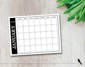 2018 Printable Wall Calendar - Simple Modern Rustic Font Monthly Wall Calendar Family Planner - Home, Office Instant Download Calendar