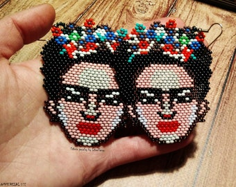 Frida Kahlo earrings, beaded earrings, Frida Kahlo beads, beaded earrings Frida Kahlo, beaded Frida Kahlo, seed bead earrings, Frida Kahlo