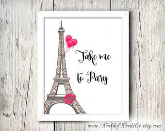 Paris art, Take Me to Paris, Eiffel Tower Art, Fashion wall art, Girly Wall Art, Gift for Her, Dressing Room Art, Love Paris, Paris Wall Art