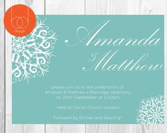 Snowflake Wedding Invitation Digital