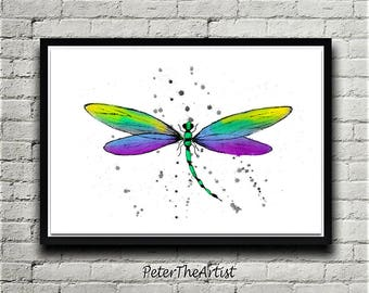 Dragonfly. May Fly. WALL ART. Watercolor bugs. Home Decor.