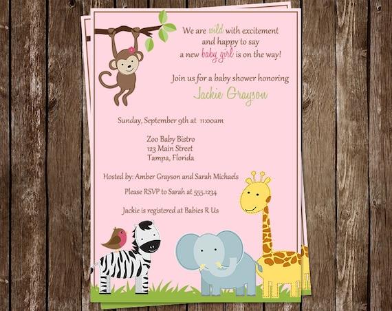 Baby Shower Girl Monkey Invitations ~ Baby shower invitations girls animals safari monkey zoo