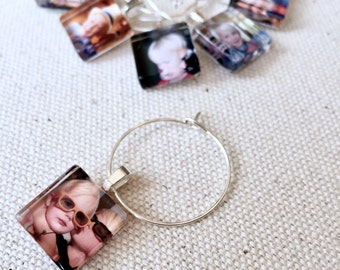 Glass Wine or Mug Charm Party Favors - Fit Coffee Mugs,Tea Cups, or Champagne Glasses - Send ANY image for these party favors