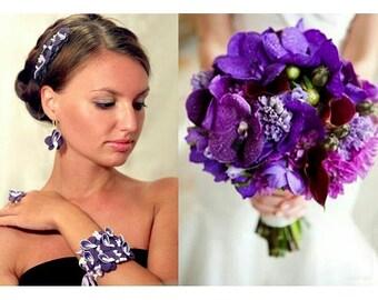 bride bouquet, bride headband, orchid bride bouquet, orchid bouquet, orchid earrings, orchid ring, bridesmaid corsage, bridal orchid corsage
