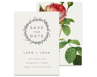 Wreath Save the Date Invitation | Vintage Rose | Printable DIY Wedding Invite | Classic white invitation with vintage flower