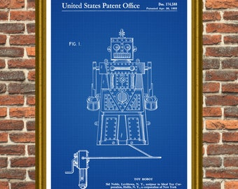 Toy Robot Poster, Robot Patent, Robot Print, Robotics, Robot Art, Robot Invention, Robot Toy, Toy Robot Gift, Remote Control Robot P309