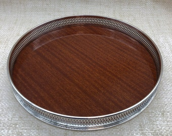 Silverplate and Faux Wood/Formica Bar tray, Serving Tray