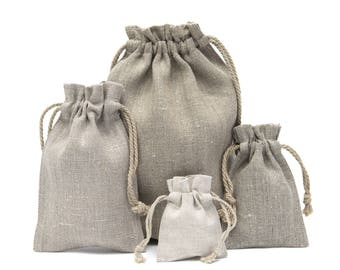 100 % Linen Gift Bag, Gifts Bags, Linen Rope, Natural Linen Bag, Pure Linen Bag,Gift Packaging