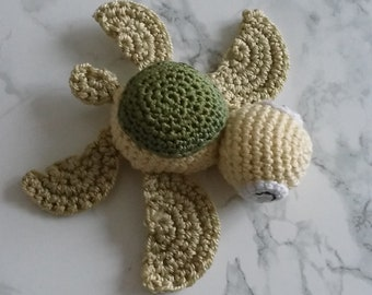 Baby turtle green and yellow toy for cats, toy crochet handmade toys for pets in cotton