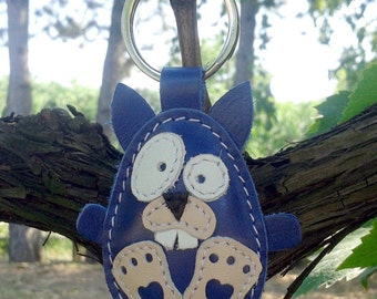 Blue Fat Rabbit Handmade Leather Keychain - FREE Shipping Wordlwide - Handmade Leather Rabbit Bag Charm