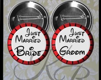 "Honeymoon Buttons, 2.25"" Just Married Pins, Bride and Groom Pins, Bride and Groom Just Married Pins, Wedding Keepsake"