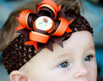 My First Thanksgiving Hair Bow and Headband - Newborn Infant First Holiday - Brown Orange - Baby Shower Gift Sets Available For All Holidays