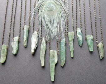Green Kyanite Necklace - Raw Crystal Necklace -  Raw Stone Necklace - Healing Crystal Necklace - Raw Stone Jewelry - Raw Kyanite Jewelry