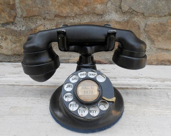 Vintage Telephone Western Electric Pat. 1924 Black Rotary Phone Photo Prop Automatic Electric Chicago Black Bakelite Handset E