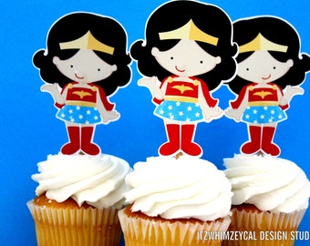 Wonder Girl Superhero Die Cut Cupcake Topper (One Dozen)