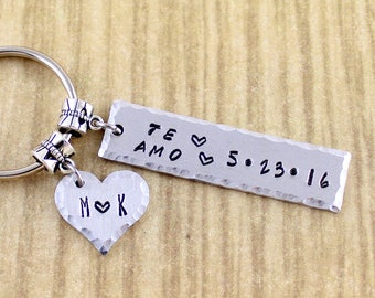 Personalized Te Amo Keychain || I Love You In Spanish Customized with Anniversary Date & Couples Initials || Read Read Order Instrustions
