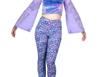Lilac Velvet Bell Sleeved Crop Top