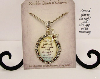 Peter Pan Quote Pendant Necklace, Peter Pan Necklace,  Literary Quote Necklace, Literary Jewelry,  Literary Necklace, Book Necklace
