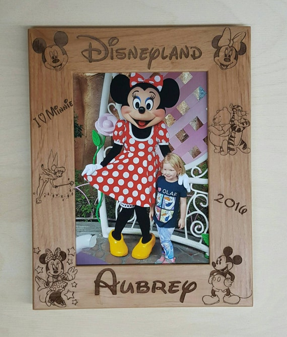 Picture Frame, Disneyland Mickey and Minnie Mouse, 5x7 Custom Laser ...