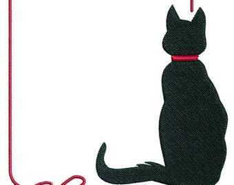 Embroidery Design, Cat and Ribbon Border for 5 x 7 Hoop