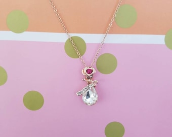 Oh my nana ~ gold necklace with rose and diamond pendant