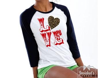 Valentine Love TShirt - Adult Valentine Shirt - Leopard Baseball Black White - Red Text Love Tee - Custom Size  XS S M L Xl 2XL 3XL