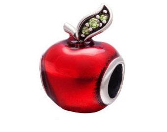 Apple Bead, Teacher Charm, Large Hole Bead, European Bead, Charm Bead, Add a Bead, Charm Bracelet, European Charm, Big Hole Bead, Red