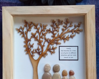 Family Tree Pebble Picture - pebble art - gift - Father's Day - Mother's Day - Birthday - polished pebble picture