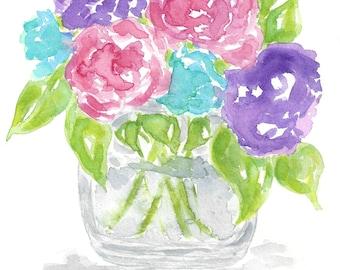 Watercolor flowers, flower bouquet art, watercolor flower print, watercolor floral print, watercolor floral, floral art, flower print
