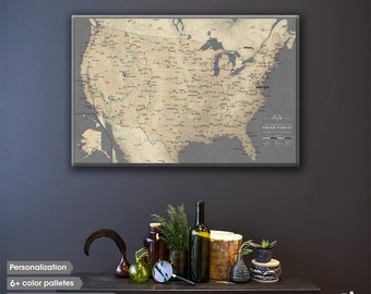 US travel map / US map canvas / Customizable us map / US map art / Push Pin Map / Travel map