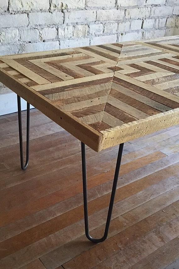 Reclaimed Wood Coffee table, Hairpin Legs, Lath, Geometric, Pattern Design, 3D Optical Illusion, 2' x 4'