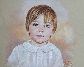 Pastel portrait painting of a boy, Custom child portrait from a photo